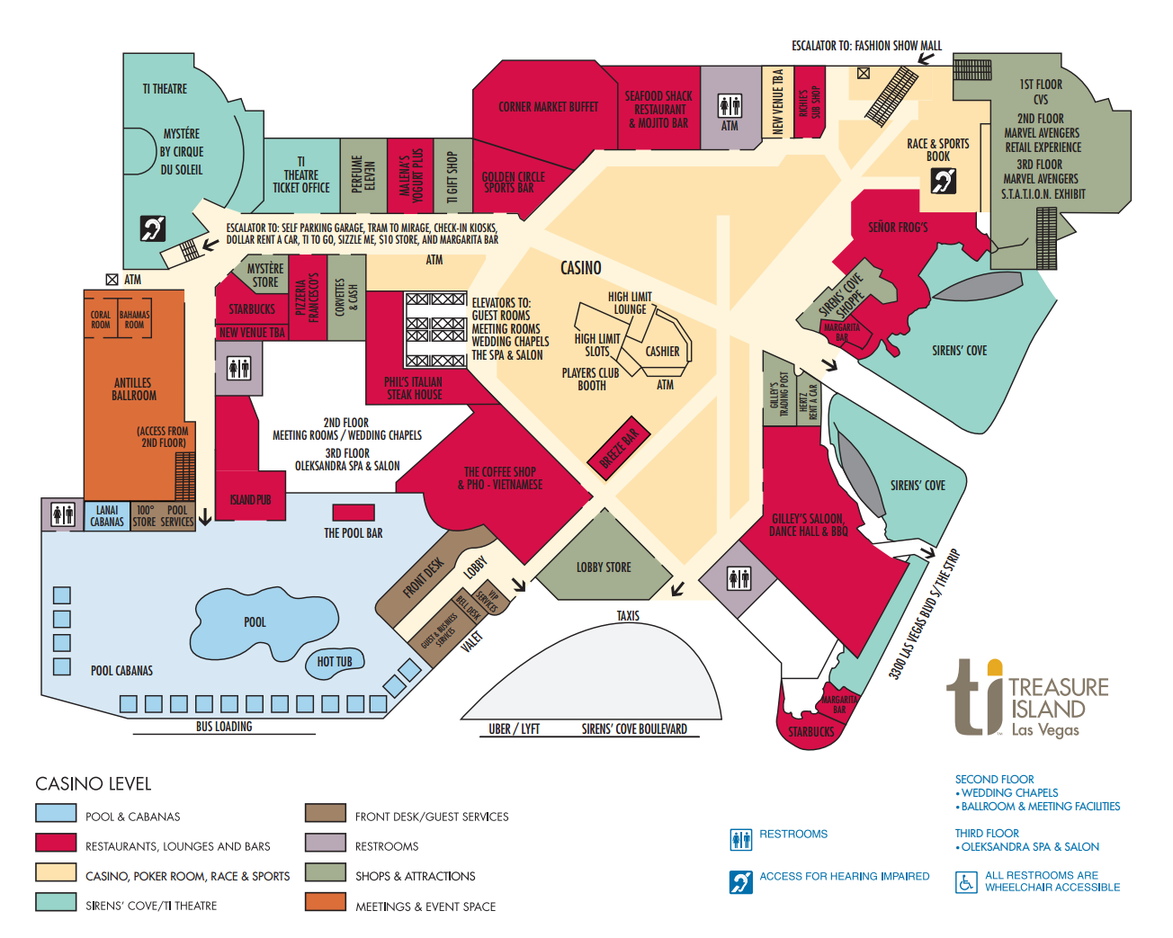 Venetian Las Vegas Map TI Hotel Property Map Treasure Island Hotel and Casino, Las Vegas