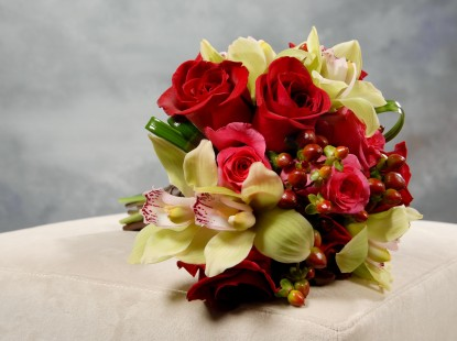Rose, Cymbidium Orchid, and Hypericum