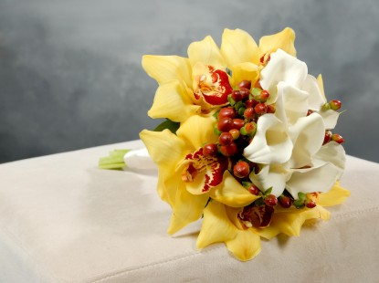 Cymbidium, Calla Lily, and Hypericum