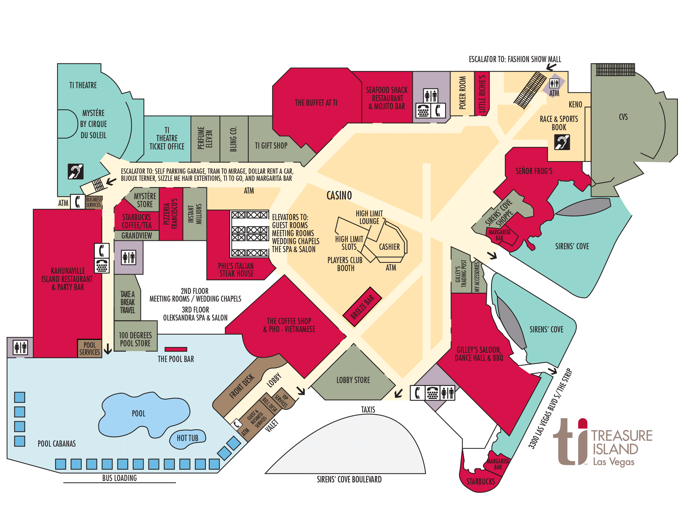 Ti Hotel Property Map Treasure Island Hotel And Casino